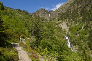Chasing waterfalls on the climb out of Arinsal...