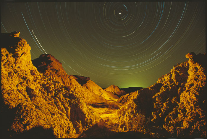 Badlands star trails from our base camp — photo by Jason George.