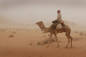 Riding through a sandstorm in Wadi Rum, Jordan Photo © Jason George