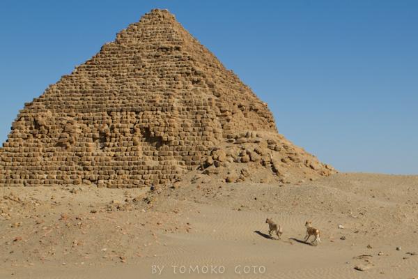 The crumbling pyramids of Nuri bake in a heat haze.