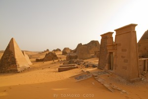 Exploring the royal cemetery of Meroe — our campsite for the night.