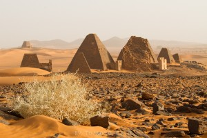The steep-sided pyramids of Sudan are different than the Egyptian style.