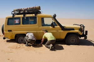 """Grinding along in low gear in 4WD with a heavily laden vehicle in soft sand can consume twice as much fuel per distance..."""