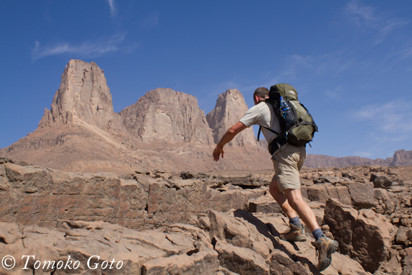 Hiking across the plateau towards the Three Graces after a tough 4 hour climb up Wadi Wahesh - that's not even half way up Uweinat!