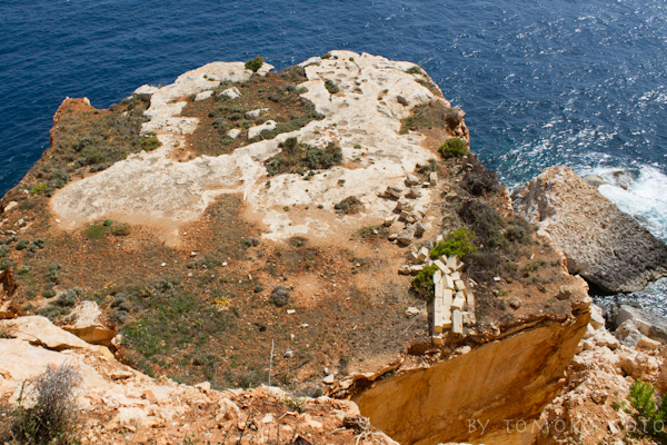 This gargantuan chunk of cliff fell away into the sea near Hassan's Cave, taking part of a stone wall and wire fence with it...