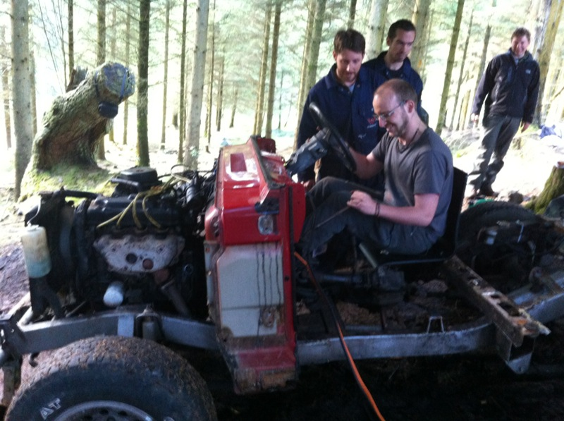 Stuart sneaking in to break the car again during the Bush Mechanics session...