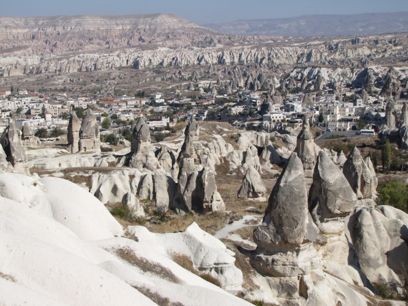 Wandering the parched landscape amidst Cappadocia's surreal rock spires...