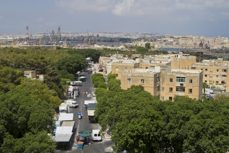 The Marsa Docks and Valletta from the top level of the Notre Dame Gate