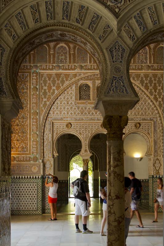This elaborate plasterwork in the Alcazar's inner rooms is a fine example of mudéjar architecture...