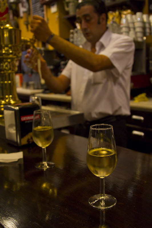 Sipping a glass of fino sherry in Seville's old town...