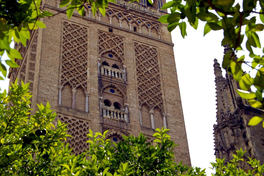 The bottom of Seville cathedral's bell tower is the original minaret of the mosque that once claimed this space...