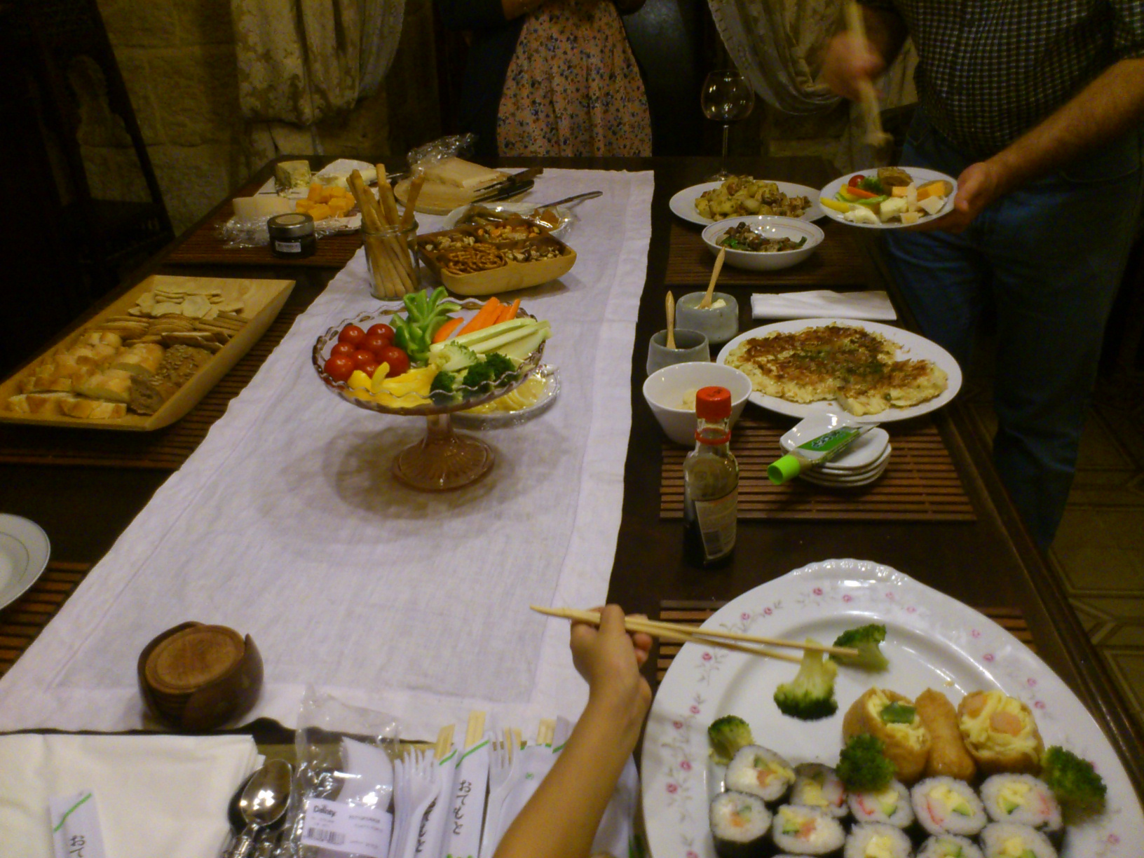 Wines, cheese, okonomiyaki and many more delicacies were on offer in the dining room...