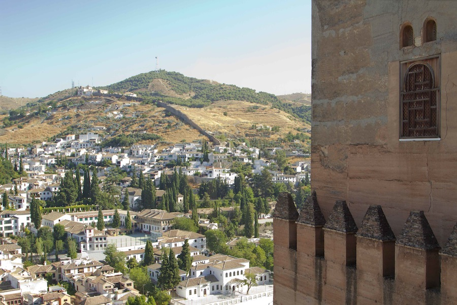 Views of Granada from the hilltop palace city of the Alhambra...