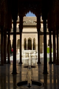 The Court of the Lions forms the tranquil gurgling centre of the Nasrid Palace complex...