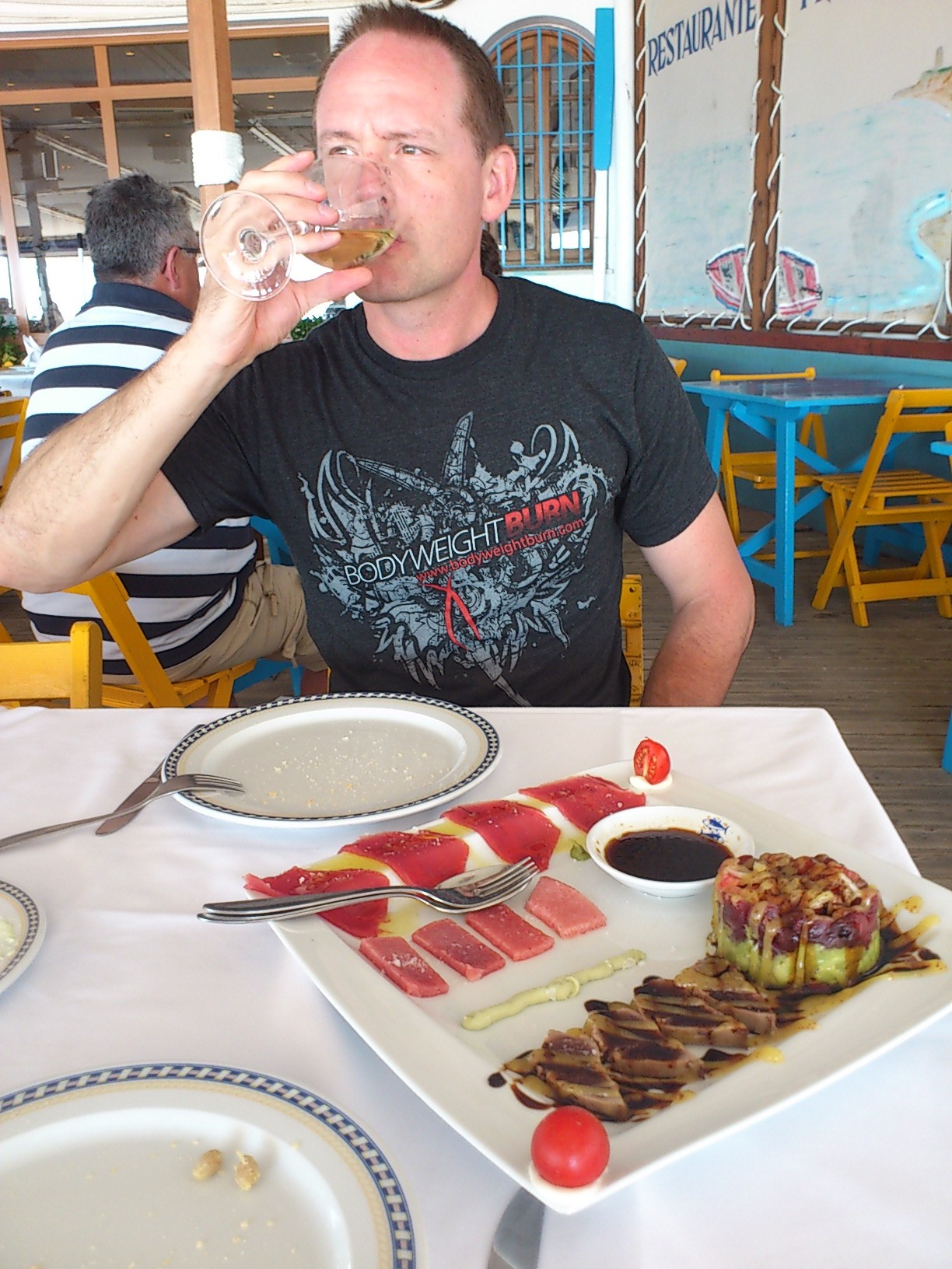 Indulging in an assortment of tuna sashimi, right off the boat...
