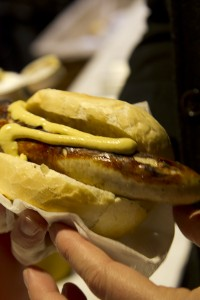 ...delicious bratwurst covered in mustard…