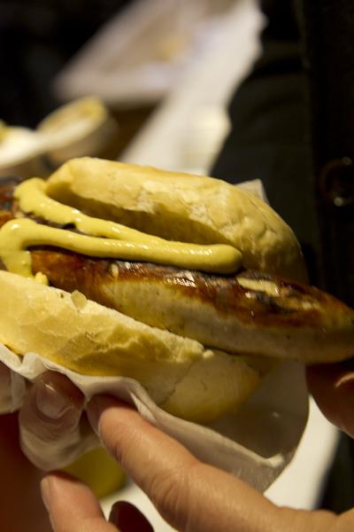 ...delicious bratwurst covered in mustard…