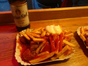 For those who criticized my meal choices… A fine Berlin currywurst!