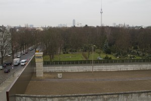 A preserved section of the Berlin Wall, complete with guard tower. The view from the West…
