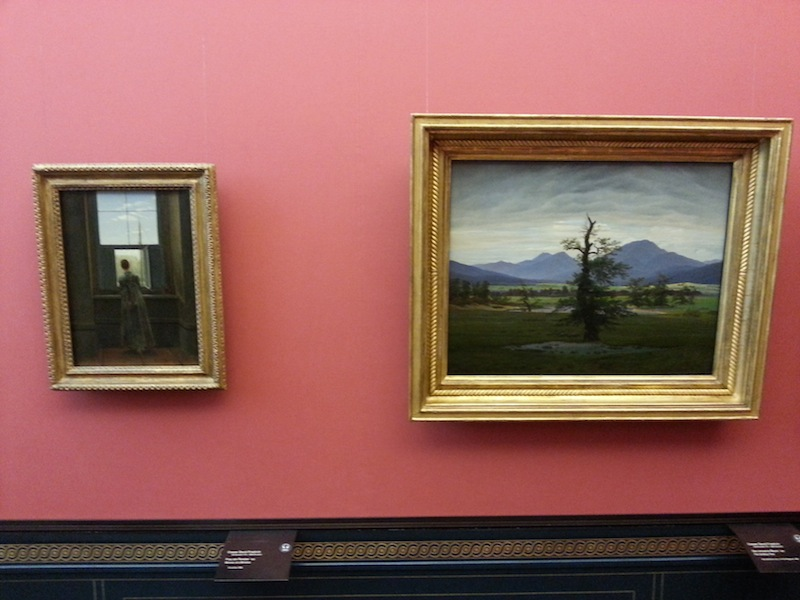 """Caspar David Friedrich's """"Woman at a Window"""" on the left and """"Solitary Tree"""" on the right"""