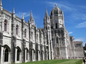 The Monasteiro des Jeronimos — built when the explorer Vasco da Gama made a safe return from his first voyage to India.