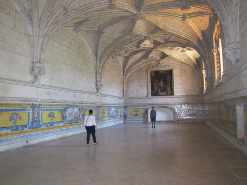 Vibrant tile work in a room off the cloister of the Monasteiro des Jeronimos...