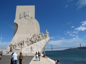 The Monument of the Discoveries, with its determined group of explorers...