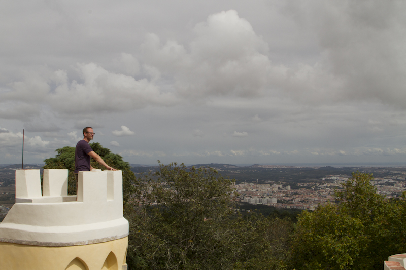 Watching for infidels —and catching a view of the sea — from a turret of Pena Palace...