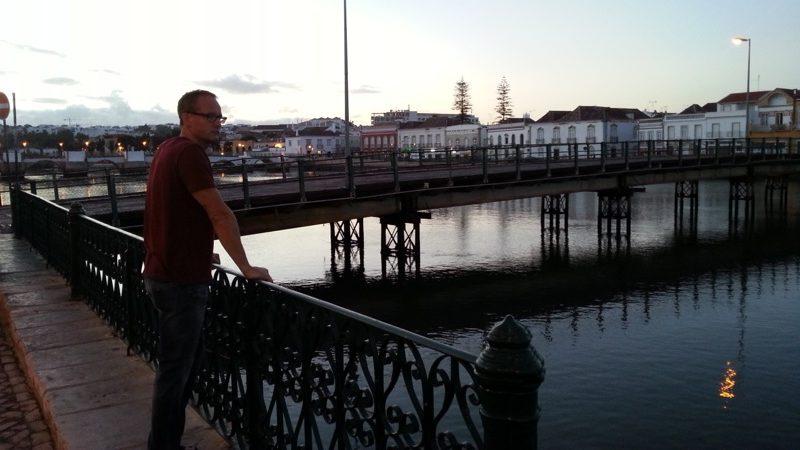Strolling along Tavira's riverside at dusk...