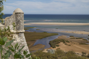 The beach below the village of Cacela Velha, from the fort...