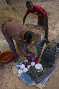 Jonathan prepares lunch after a resupply in Faya...
