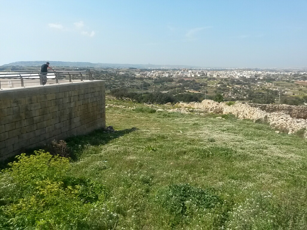 Countryside views all the way to Mdina and Dingli radar station from the park up the hill —and out my front window...