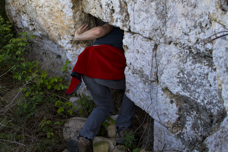 Found a cave cut into the rock below Fort Mosta's outer wall, leading to...