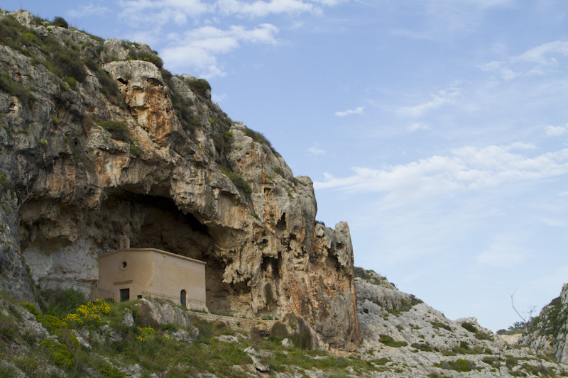 A small chapel dedicated to St. Paul the Hermit, built into a cave high up on the wall of Wied il-Ghasel...