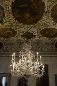 ...elaborate chandeliers of Murano glass...