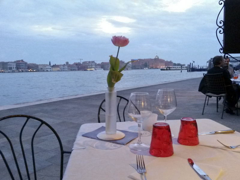 A lovely dinner on the Giudecca Canal...
