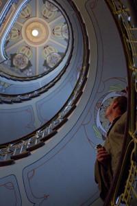 Art spirals upward in one of the best interior stairwells in the city...