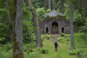 The crypt, a long walk through the woods... It was apparently vandalized during Soviet times...