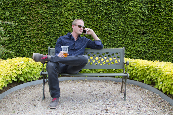 Enjoying a cold local beer in the gardens...
