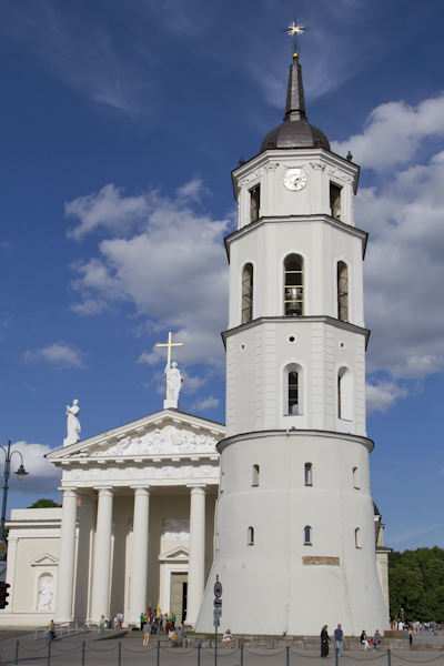 Vilnius Cathedral and belfry, built over the same ground where pagans once worshipped Perkunas (Lithuanian god of thunder)...
