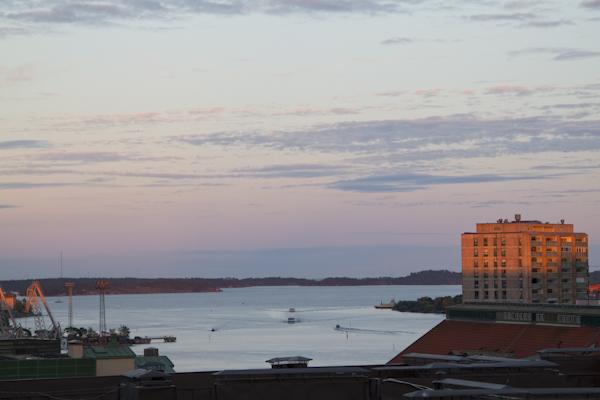 Views of the Baltic from our little penthouse in Kallio...