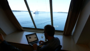 My captain's-eye-view was the perfect place to sip champagne and write...