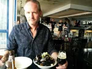 A feast of mussels chased by a dark local ale...
