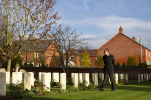 The war graves section of the Pershore cemetery — 41 of these men were Canadians