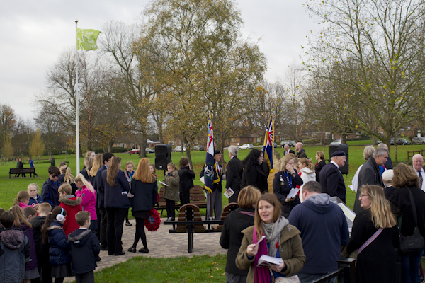 One of the Pershore Remembrance Day ceremonies, conducted by the local schoolchildren...