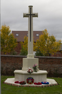 The cross of sacrifice at the war graves memorial