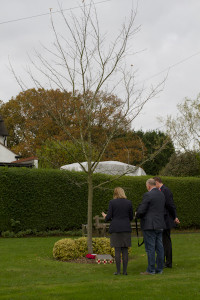 The memorial and maple tree at Rowney Green, where Wellington bomber X3932 crashed