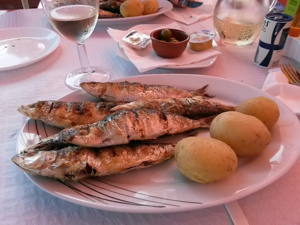 The grilled sardine lunches in Fuseta at the cafe Galactica. You won't find better cold water fish anywhere.