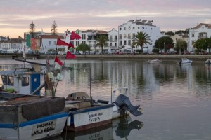 Strolling along Tavira's riverside at dusk...