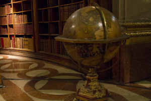 Four massive globes from the imperial globe collection are on display...